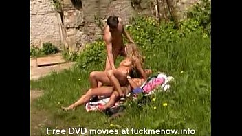 Outdoor Threesome With A Horny Blonde
