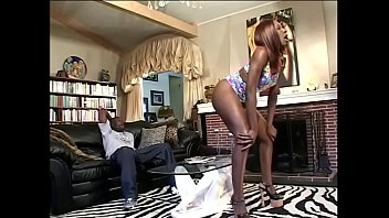 Vintage opium pipe Black bitch ms. cocoa in heels gets her cunt fucked with a fat dick on the couch