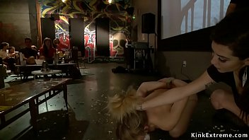 Blindfolded blonde is fucked in theater