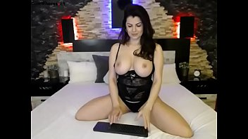 Huge tits sexy girl live strip tease on bed