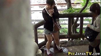 Classy asian pee soaks panties and tosses them