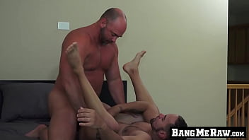 Gay big cock lover Hung mature guy thrusts his fat dick up his lovers ass