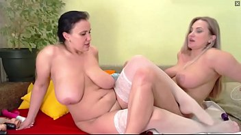 Gorgeous Lesbian Milfs With Big Natural Tits Strip and Scissor Each Other on Webcam