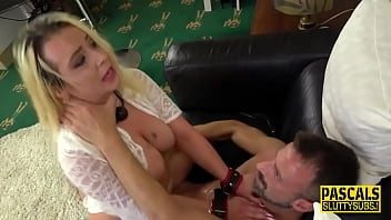 Bound and blindfolded milf gets whipped