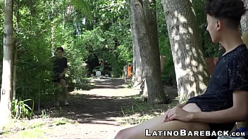 Young latinos Wilson and Alan barebacking in the woods thumbnail