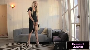 Solo amateur trap sensually jerking her cock