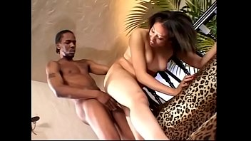 Sexy ebony in heels opens her legs wide for a big black cock