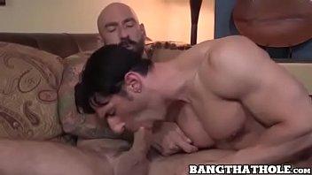 Bald macho rewards his partner by balls deep barebacking thumbnail