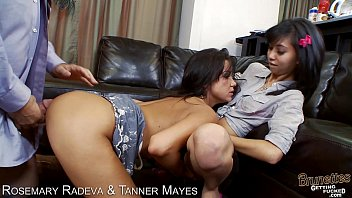 Brunettes Rosemary Radeva and Tanner Mayers sharing cock