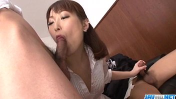 Asian lady in white collar Nonoka kaede asian milf deals two younger cocks