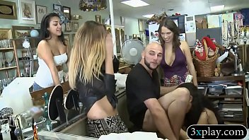 Three pretty girls sucked off and fucked by bald dude