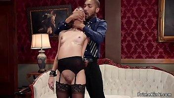 Ebony and brunette fucking black cock