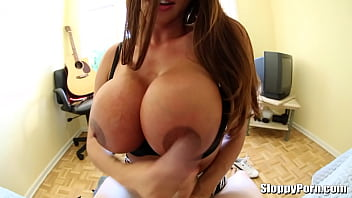 Busty Ariella Ferrera POV titsjob and blowjob