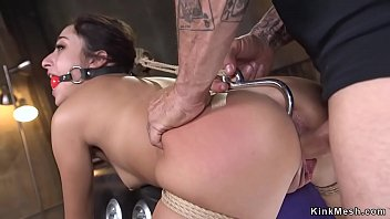 Ass hooked slave doggy banged in bondage