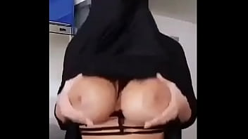 Hot Busty Hijab shows her big natural boobs in hot lingerie