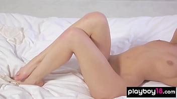 European Katia Martin posing in sexy white lingerie