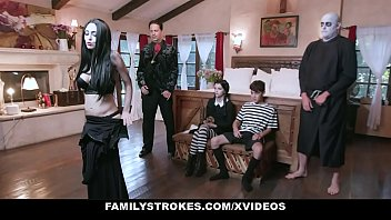 Breast stroke movie Familystrokes - costumed teen and milf get fucked hard and rough for halloween