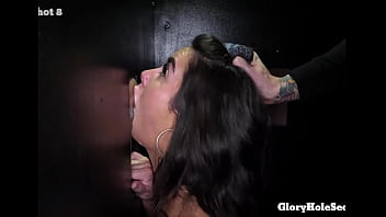 Small tit gloryhole girl eats cum