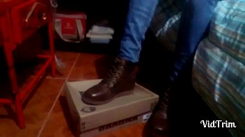 Girl in boots stomp a box