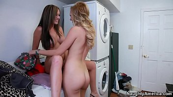 Naughty America Lesbians Brett Rossi and Destiny Dixon fucking in the laundry room