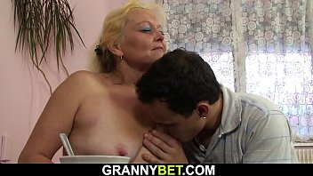 Hot hairy horny granny Old blonde woman enjoys riding his horny cock
