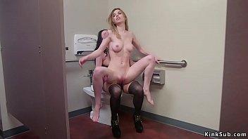 Lesbian boss paddles co worker in restroom