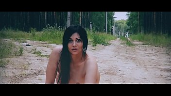 Hot Russian pussy walks naked in a forest park-