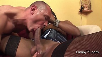 Big cock black shemale assfucking a white guy