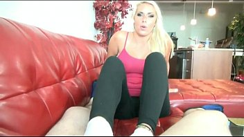 Sexy Hot Blonde Footjob Wearing Socks