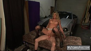 Booby blonde shemale Angelina Torres asshole ripped good