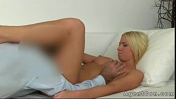 Blonde amateur fucked on couch in office