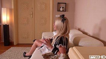 Hot blonde maid Rachele Richey sucks that big ass boner until he cums