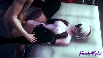 Nier Automata Hentai 3D - 2B Blowjob And Fucked  With Cum In Her Mouth And Pussy