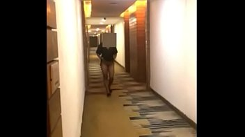 horny girl lifting her dress exposing breast n pussy in hotel lobby