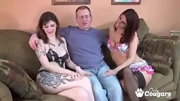 Indigo Augustine & Her Sexy GF Give A Nerdy Old Dude A Threesome