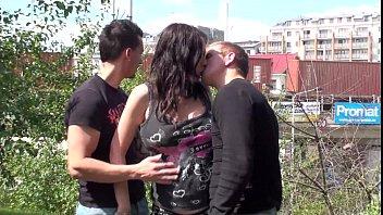 Pregnant Stella Fox public threesome gangbang