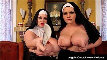 BBW Nuns Angelina Castro & Sam 38G Spank & Fuck Their Twats! Vorschaubild