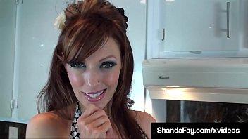 Horny Housewife Shanda Fay Milks Her Hubby's Cock In Kitchen