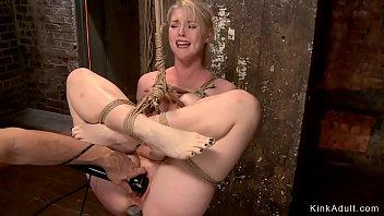 Blonde slut is anal toyed in hogtie
