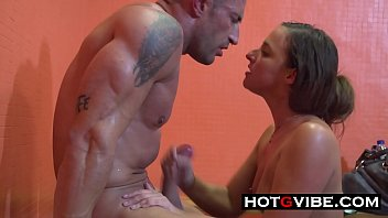 Public Shower Slut Strokes and Sucks Cock!