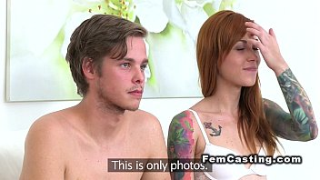 Bf bangs inked redhead in casting with female agent
