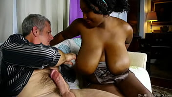 Beautiful big tits black BBW gives a hot blowjob for a facial cumshot