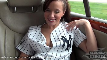 Naked summer coeds April all oiled up in my car n the way home from yankees game in chicago summer roadtrip