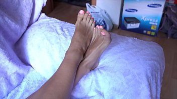 Hot girl shows her perfect soles, legs, feet and toes to the camera