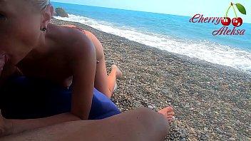 Hot Blonde Public Blowjob on the Beach - Cum in Mouth