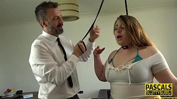 Bound bbw submissive gets whipped