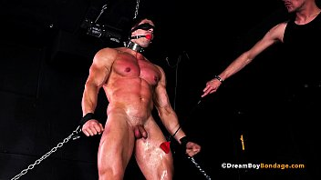 Gay master sex slave - Muscular jock slave dominated by kinky master with a huge cock - bdsm