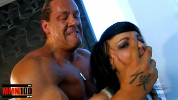 Cute petite brunette fucke by muscle man with huge cock