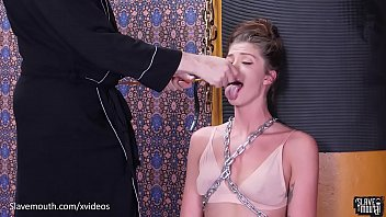 Beautiful babe in chains gets a brutal face fucking and mouth abuse session (Leah Winters)