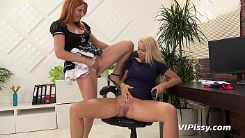 Hot blonde enjoys lesbian piss drinking with her maid thumbnail